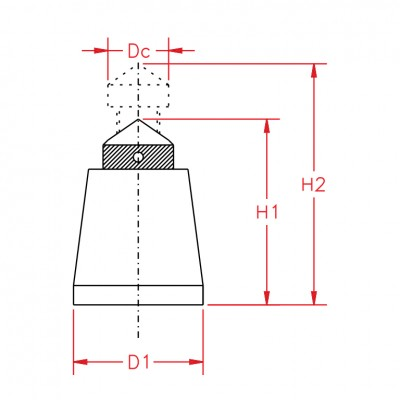 Screw-Jack-with-Conical-Head-and-Steel-Body-drawing